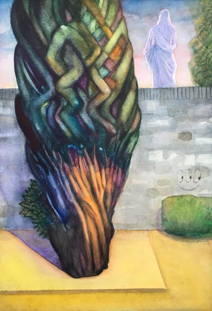 Zypress, watercolor, 2019