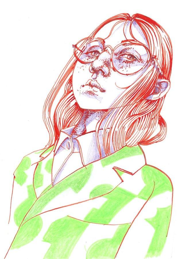 Nerdy girl, ink&pencil, 2017