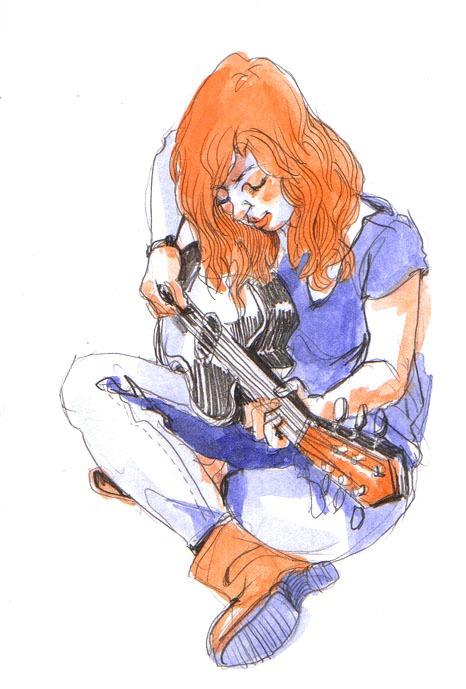 guitar, pencil&watercolor, 2011