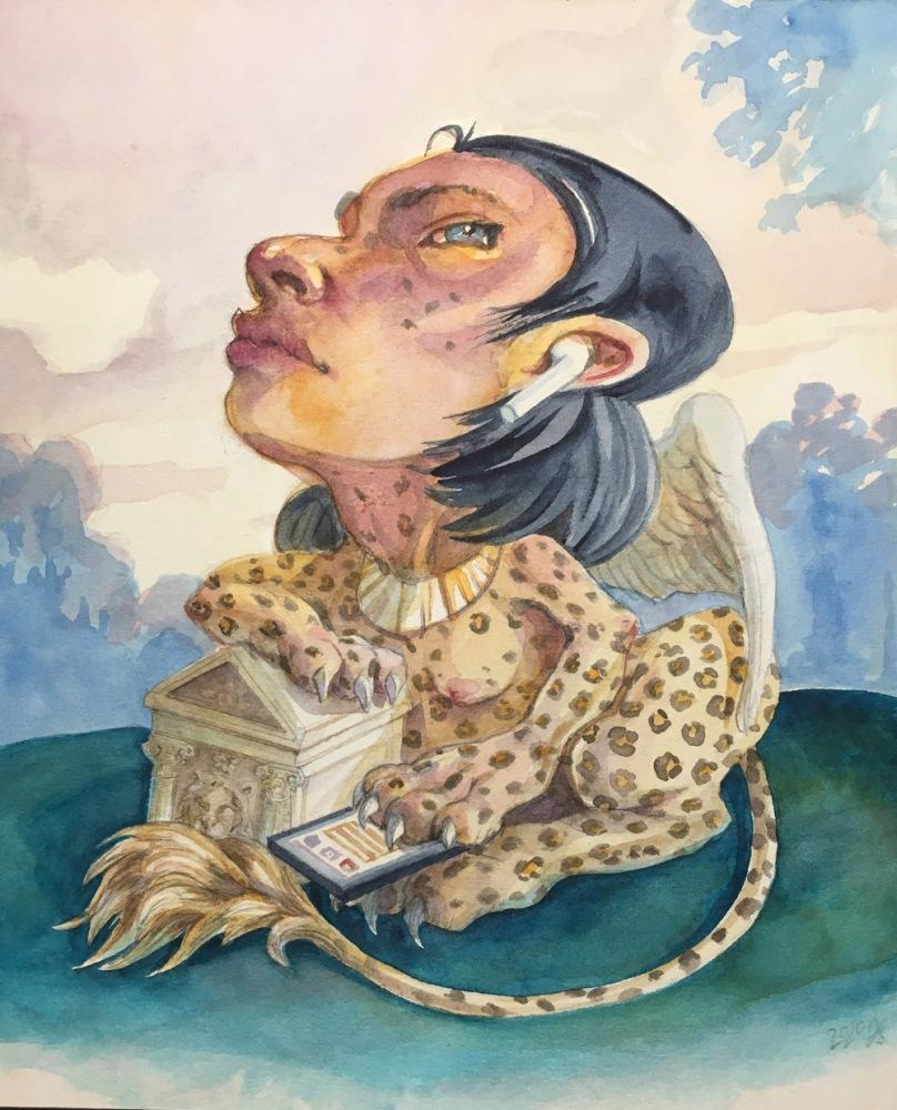 Sphinx, watercolor, 2020