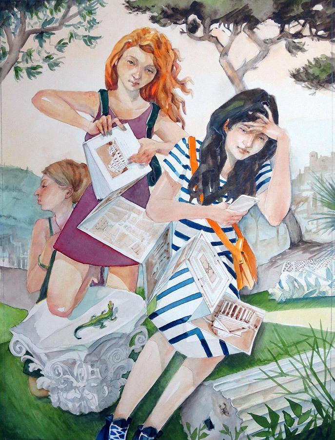 Tourist Apotheosis, watercolor, 2015