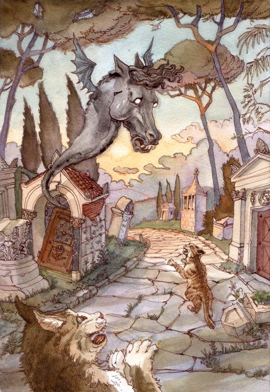 Via Appia, ink & watercolor, 2011