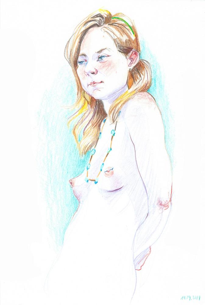 Figure study, color pencil, 2019