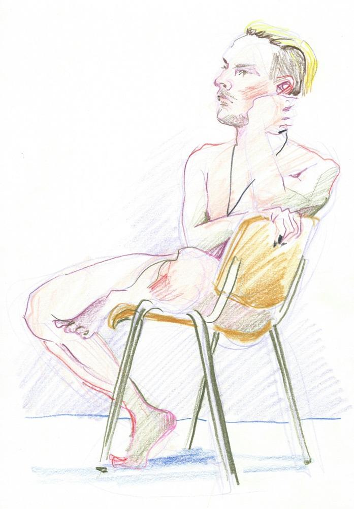Figure study, color pencil, 2018
