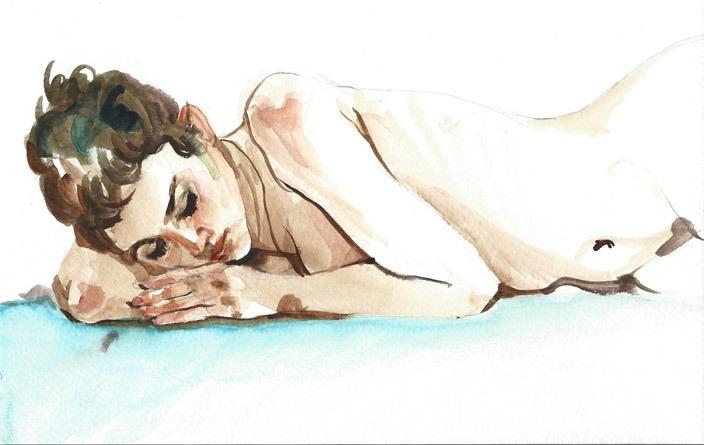 Figure study, watercolor, 2014
