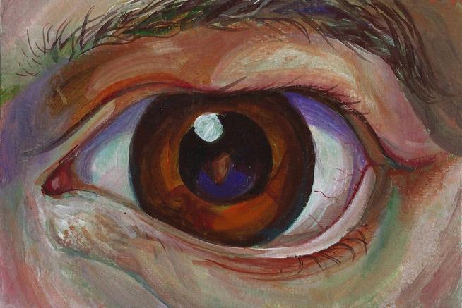eye study, acrylics, 2013