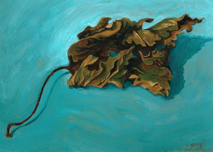 leaf study, acrylics, 2013