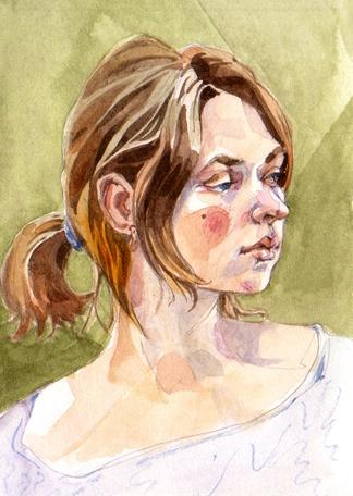 Portrait study, watercolor, 2012