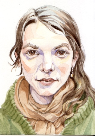 Portrait study, watercolor, 2010