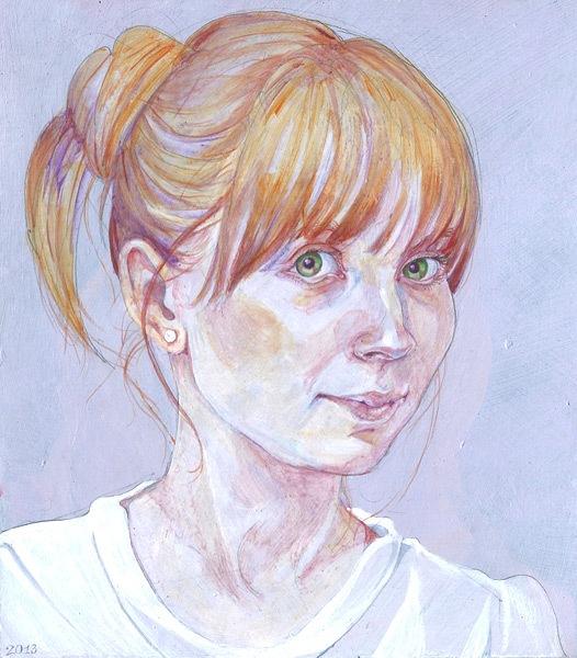 Portrait study, acrylics, 2013