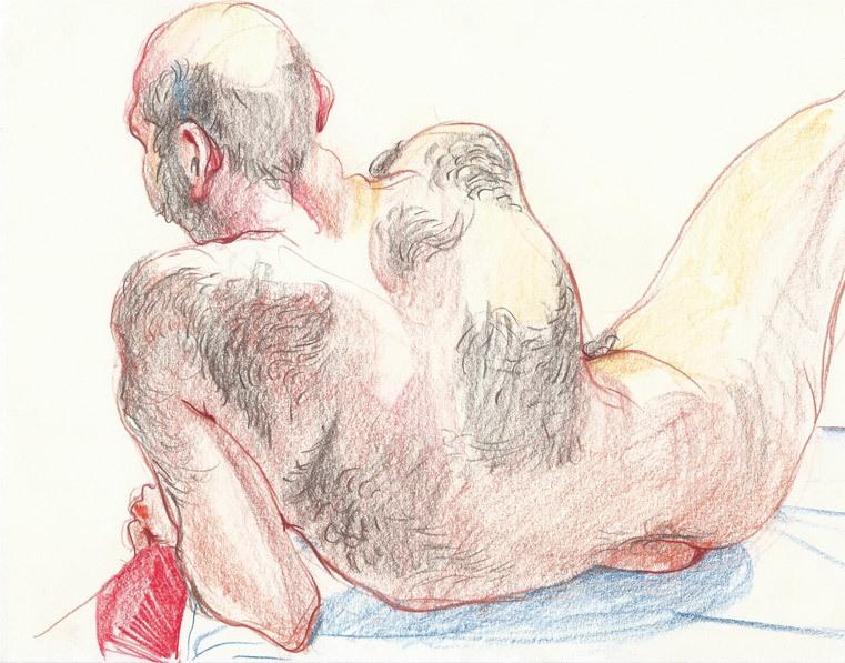 Figure study, color pencils, 2014