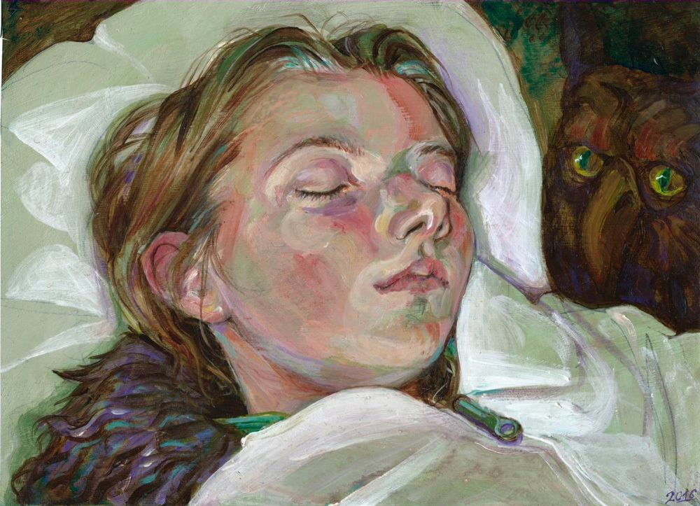 Sleeping, acrylics, 2016