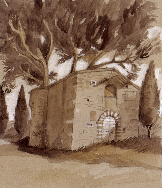 Abbazia San Quirico near Cannara, watercolor, 2010