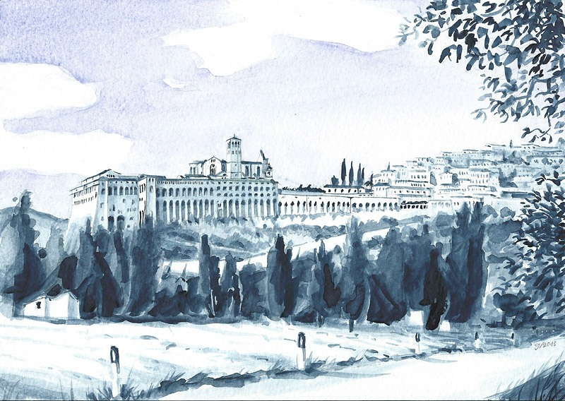 Assisi, San Francesco, watercolor, 2015