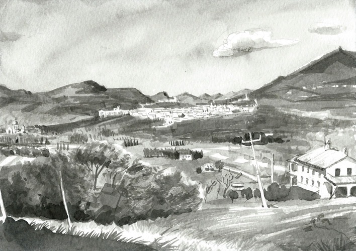 Assisi Panorama, ink, 2013