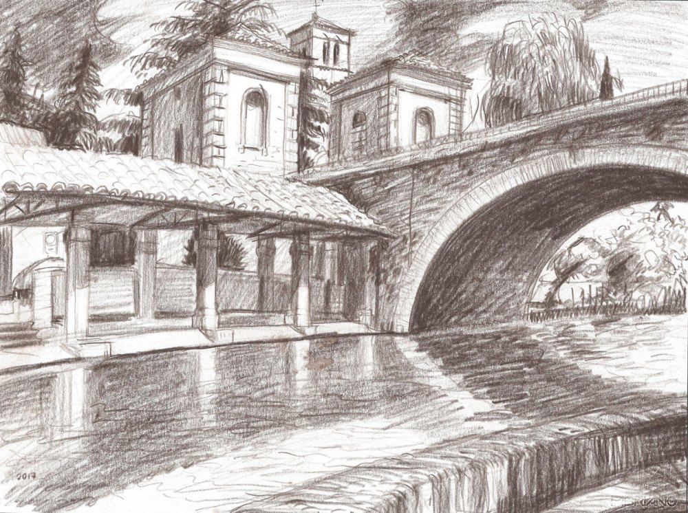 Bevagna bridge over Clitunno river, color pencil, 2017