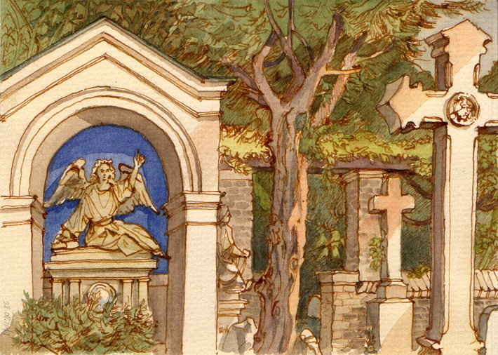 Friedhof Bornstedt, watercolor, 2011