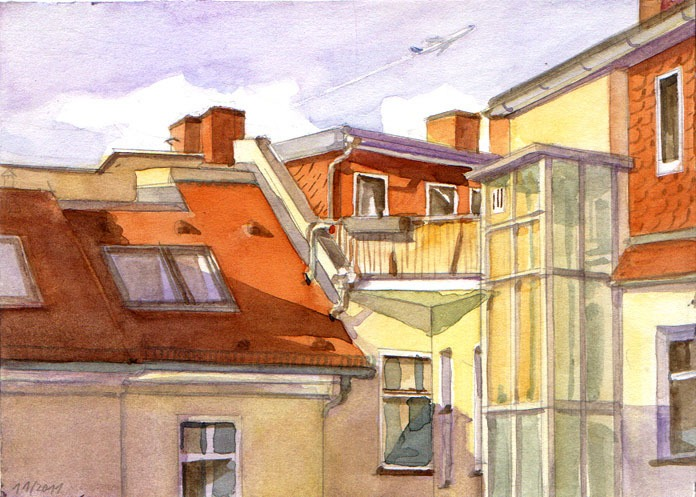 View from my window, watercolor, 2011