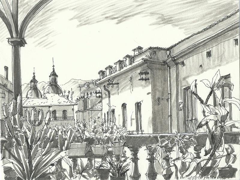 Palazzo Cattolica Palermo, pen&marker, 2016