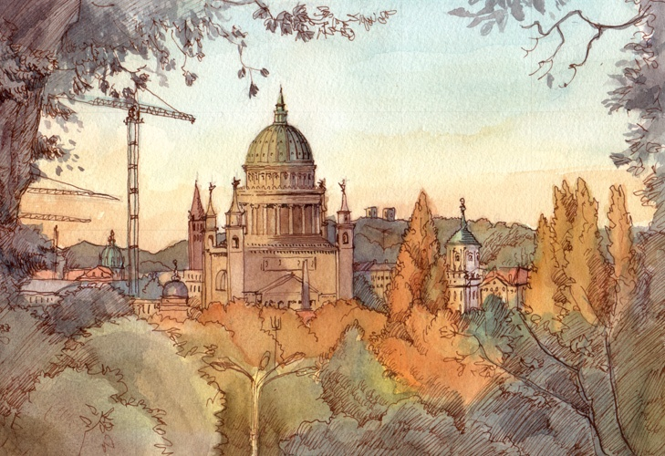 Potsdam panorama, Ink & watercolor, 2011