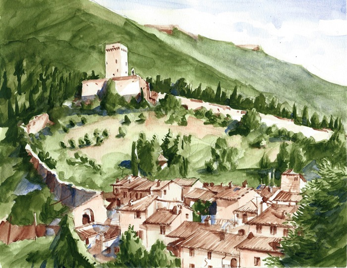 Rocca Minore Assisi, watercolor, 2013