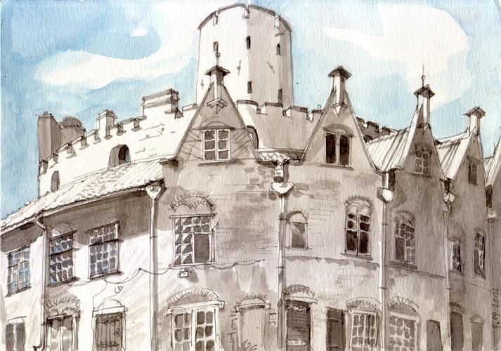 Twierdza Wisłoujście Gdańsk, Ink & watercolor, 2012