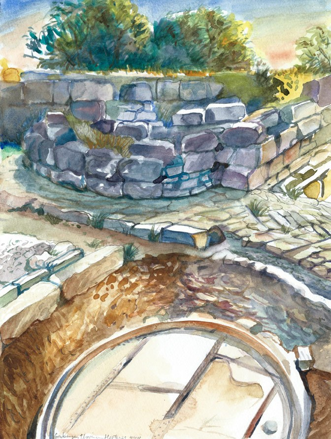 Excavations Urvinum Hortense, watercolor, pencil, 2018