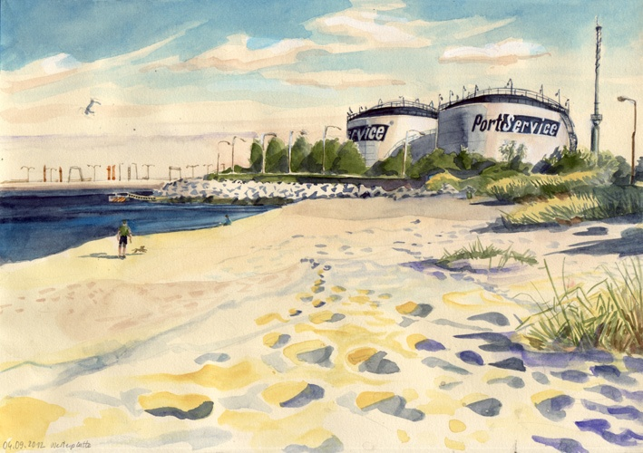 Plaża Westerplatte, watercolor, 2012