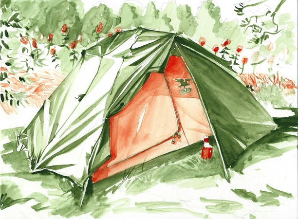 Tent, watercolor, 2013