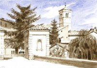 Bevagna towngate, watercolor, 2014